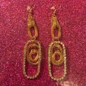 Jewelry - Gold toned dangle rhinestone rope chain earrings